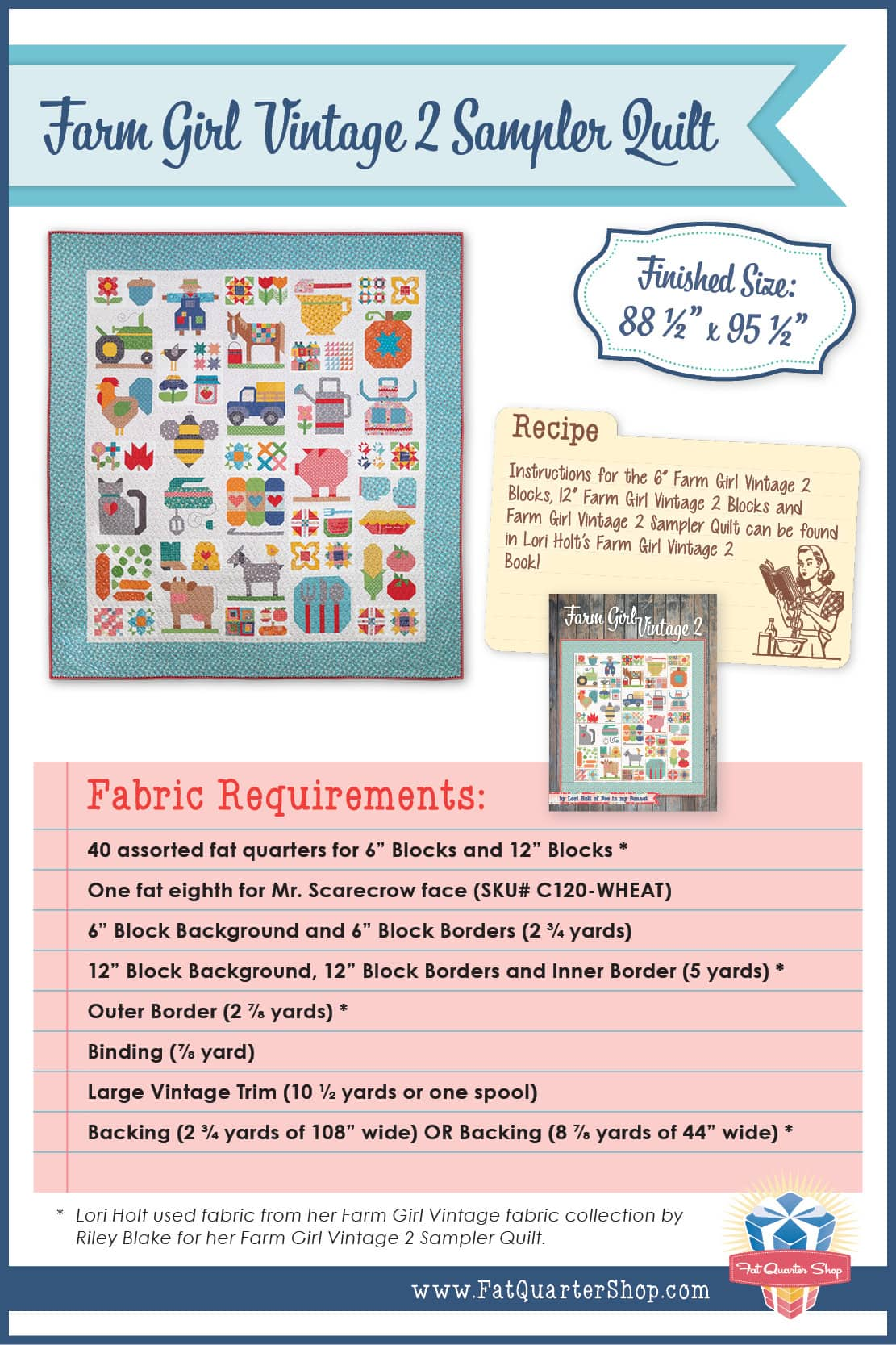 Farm Girl Vintage Sampler Quilt Fabric Requirements